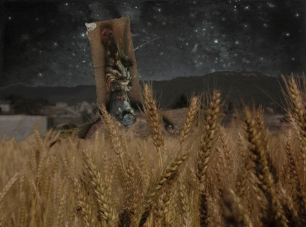 """Night-time Wheat Field"" Image constructed and manipulated from three images: ""Wheat Field"" By Skrissh2013 (Own work) [CC-BY-SA-3.0 (http://creativecommons.org/licenses/by-sa/3.0), and ""the cross in Matiaška, village in Slovakia"" By Przykuta (Own work) [GFDL (http://www.gnu.org/copyleft/fdl.html) or CC-BY-SA-3.0-2.5-2.0-1.0 (http://creativecommons.org/licenses/by-sa/3.0), and Starry Night by Jean-François Millet [Public domain], all via Wikimedia Commons. As per the creative commons license conditions, the image is under Creative Commons 3.0 license also."